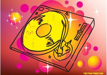 Record Player Drawing - vector gratuit #154189