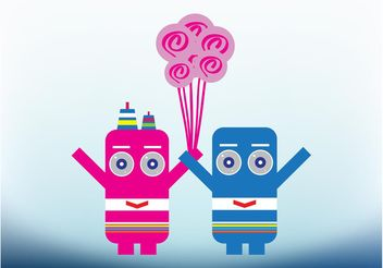 Robots In Love - vector gratuit #154359