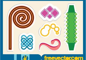 Abstract Vector Stickers - vector gratuit #154569