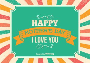 Mother's Day Retro Illustration - vector gratuit #155089