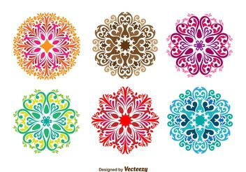 Floral Ornamental Vector Shapes - Free vector #155329