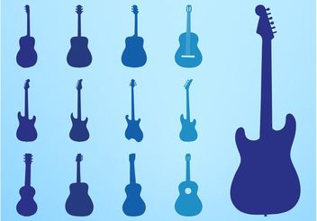 Guitar Silhouettes Set - Free vector #155409