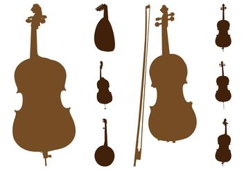 String Instruments Silhouettes - vector gratuit #155469