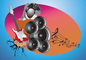 Music Girl - vector gratuit #155499