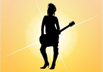 Girl With Guitar Silhouette - Free vector #155599