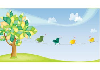 Tree and Birds - vector gratuit #155759