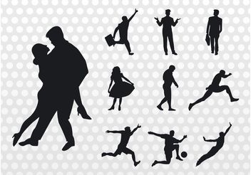 People Silhouettes Vector - бесплатный vector #156229