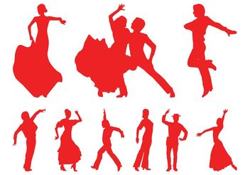 Flamenco Dancers Silhouettes - Free vector #156389
