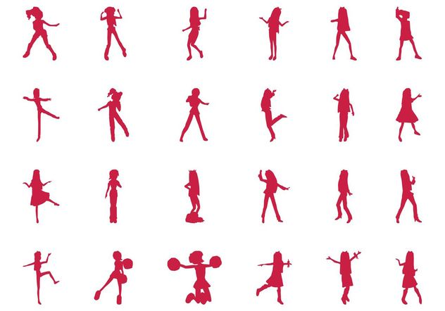 Jumping And Dancing Girls Set - Free vector #156449