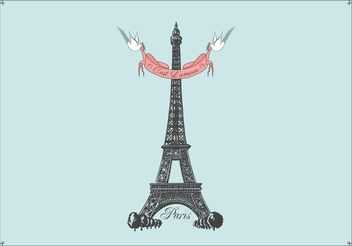 Free Hand Drawn Eiffel Tower Vector Background - бесплатный vector #156559