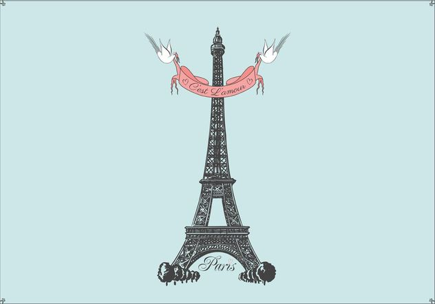 Dessinés à la main libre Tour Eiffel Vector Background - vector gratuit #156559