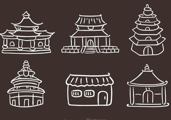 Chinese Temple Hand Drawn Icons - Free vector #156629