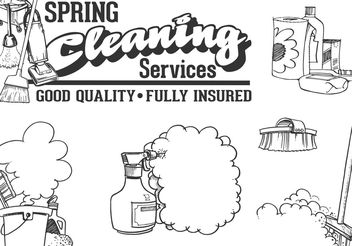 Free Vector Drawn Cleaning Service Vector Set - vector gratuit #156759