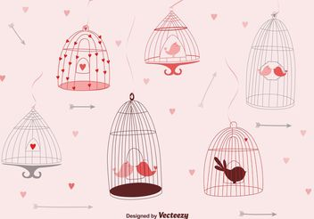 Cute Bird Cages - Free vector #156909