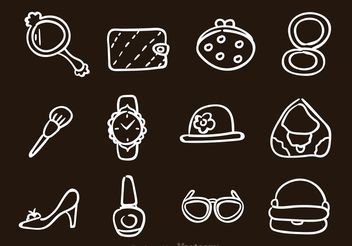 Hand Drawn Woman Accessories Icons - Free vector #156939