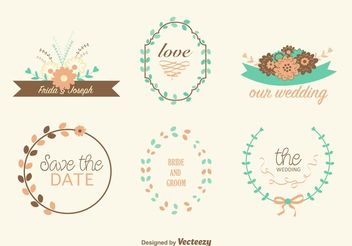 Hand Drawn Wedding Wreaths - vector gratuit #157189
