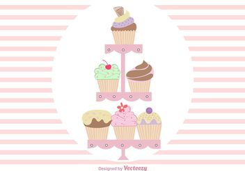 Hand Drawn Cute Cupcake Stand Vectors - Free vector #157219