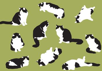 Hand Drawn Fat Cat Vectors - vector gratuit #157229