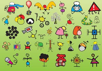 Children Drawings - vector gratuit #157349