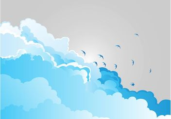 Clouds And Birds - vector gratuit #157669