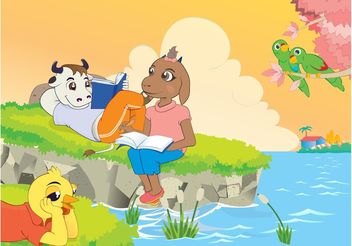 Cartoon Animals Reading Book - Kostenloses vector #157709