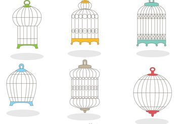 Collection of Vintage Bird Cage Vector - vector gratuit #157789