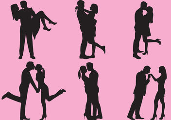 Woman And Man Love Silhouettes - Free vector #157879