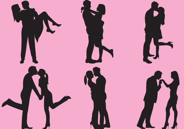 Woman And Man Love Silhouettes - vector gratuit #157879