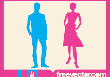 Man And Woman Silhouettes - vector gratuit #157959