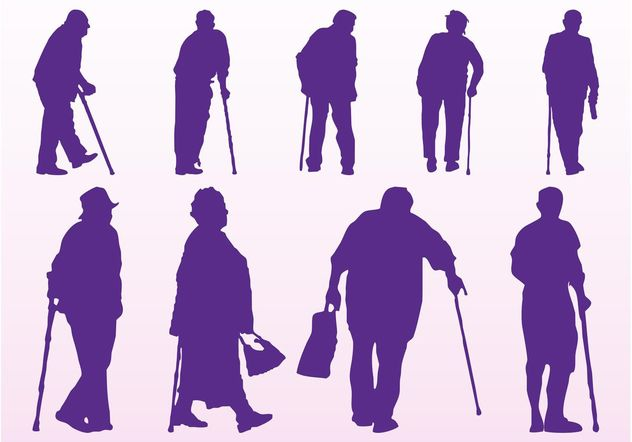 Elderly People Silhouettes - vector gratuit #158119