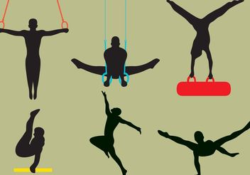 Vector Male Gymnast Silhouettes - vector gratuit #158329