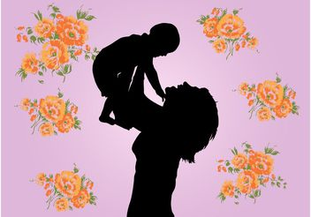 Mother And Child Graphics - Free vector #158399