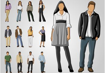 Full Body Portraits - vector gratuit #158609