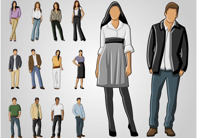 Full Body Portraits - Free vector #158609