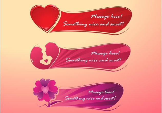 Romantic Banners - Free vector #159249