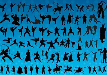 Fighting Silhouettes Vectors - vector gratuit #160339