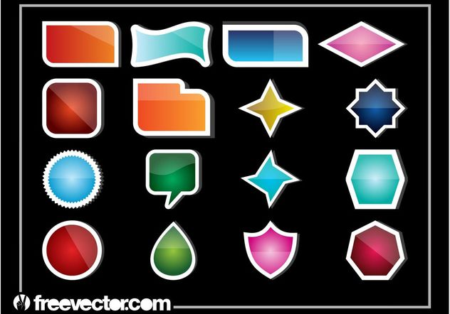 Shiny Stickers - Free vector #160539