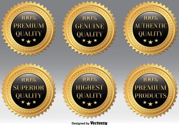 Gold Quality Badges - vector gratuit #160559