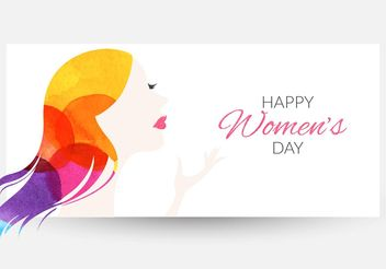 Free Women's Day Watercolor Vector Banner - vector gratuit #160769