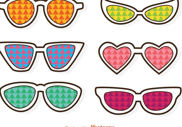 Sunglasses With Colorful Triangles Vector - Free vector #160939