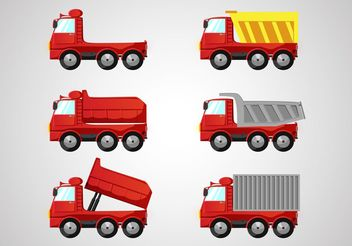 Red Dump Truck Vectors Pack - бесплатный vector #161519