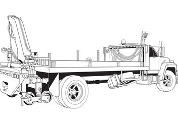 Free Vector Flatbed Truck with Boom Crane - Free vector #161809
