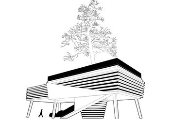 House Around The Tree Vector - Free vector #161859