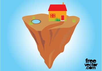 House On Floating Rock - Free vector #161919