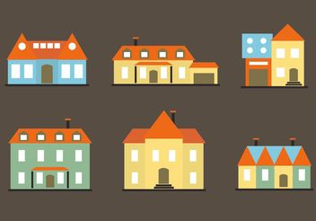 Colorful Flat Mansion Vectors - Free vector #162209