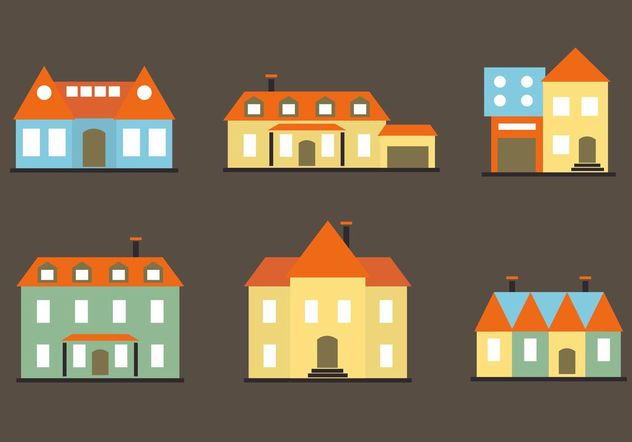 Colorful Flat Mansion Vectors - vector gratuit #162209