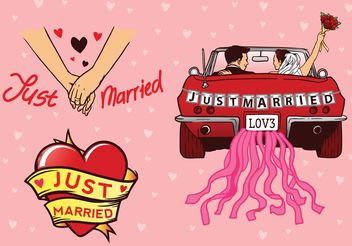 Just Married Vectors - Free vector #162259