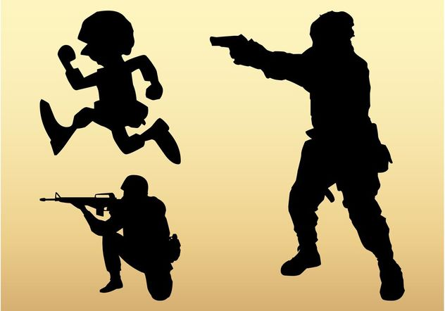Soldier Silhouettes - Free vector #162479