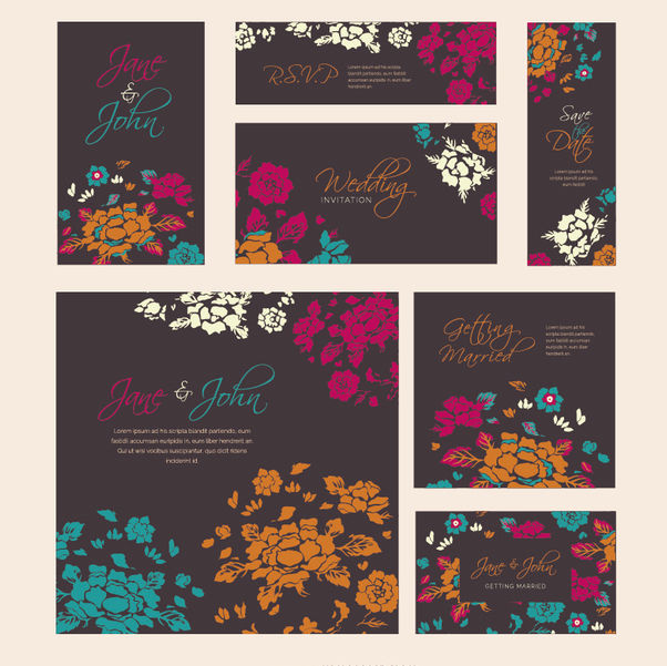 Wedding Floral template in serveral sizes - vector #162589 gratis