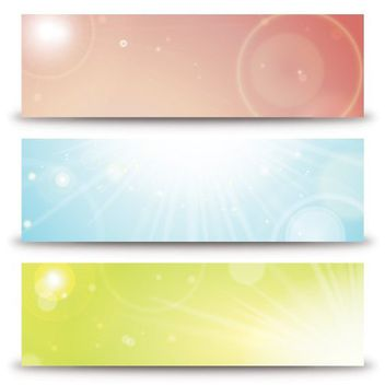 Shiny Sunlight Multicolored Banners - vector gratuit #162929